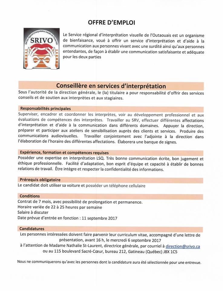 Offre d emploi conseill re en services d interpr tation sourdef - Bureau de poste gatineau ...